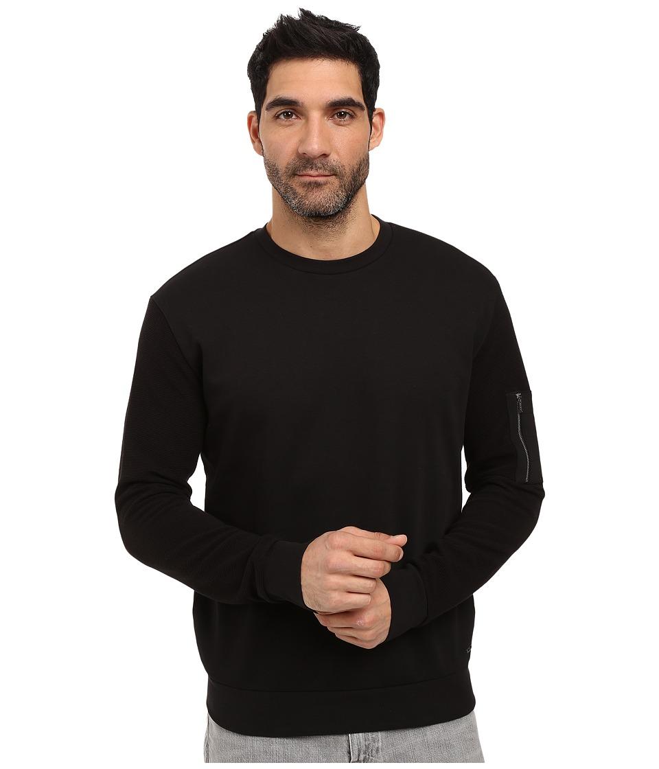 HUGO - Danremo Long Sleeve Crew with Pocket Detail (Black) Men's Clothing