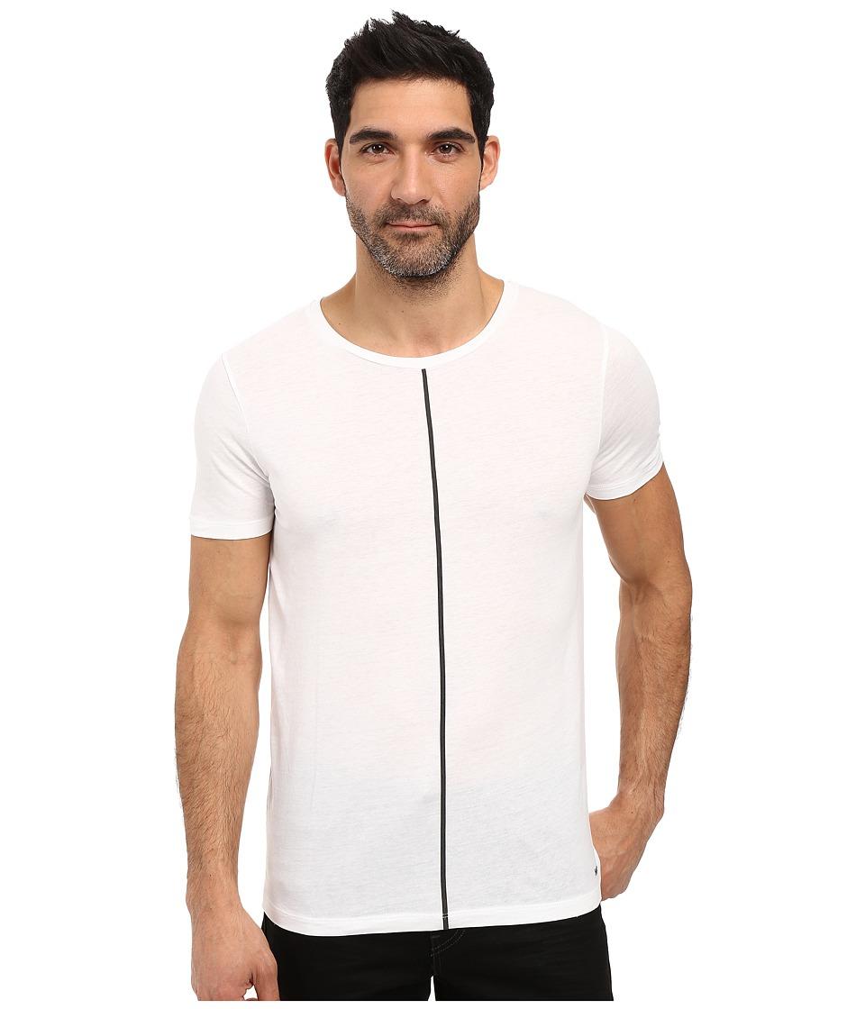 HUGO - Divoli Short Sleeve Crew with Stripe (White) Men's Clothing