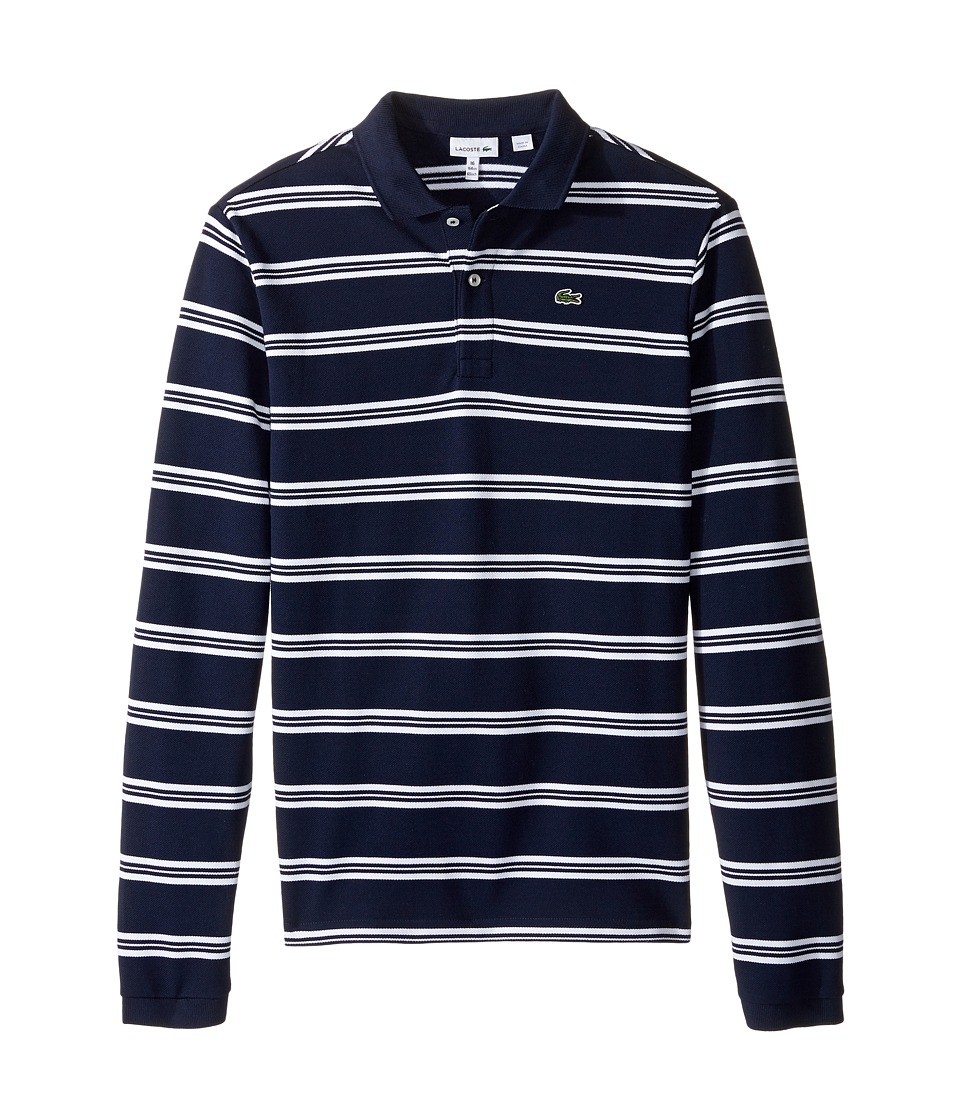 Lacoste Kids - Long Sleeve Stripe Pique Polo (Toddler/Little Kids/Big Kids) (Navy Blue/White) Boy's Long Sleeve Pullover