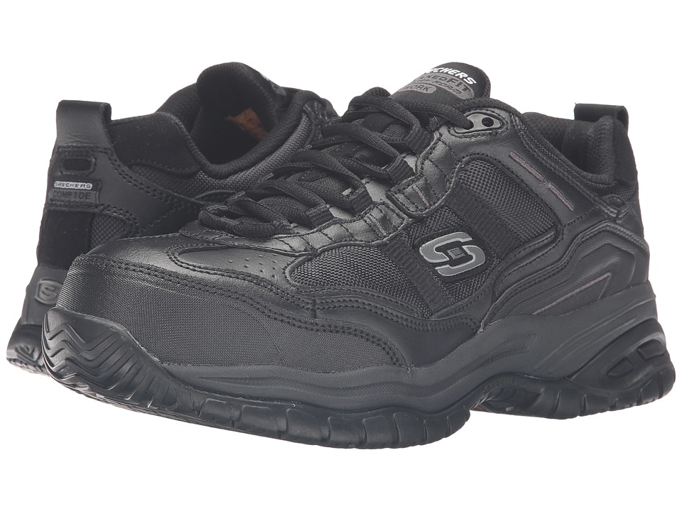 SKECHERS Work - On Site - Robson (Black Leather/Black Mesh) Men's Shoes