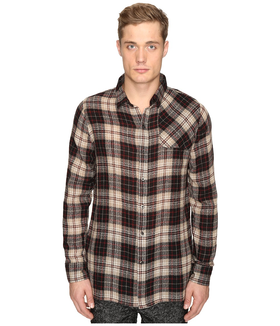 Matiere - Bowen Japanese Gauze Plaid Button Down Shirt (Khaki) Men's Clothing