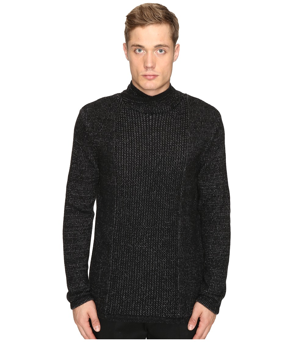 Matiere - Smith Cashmere Blend Cowl Neck Sweater (Heather Jet Black) Men's Sweater