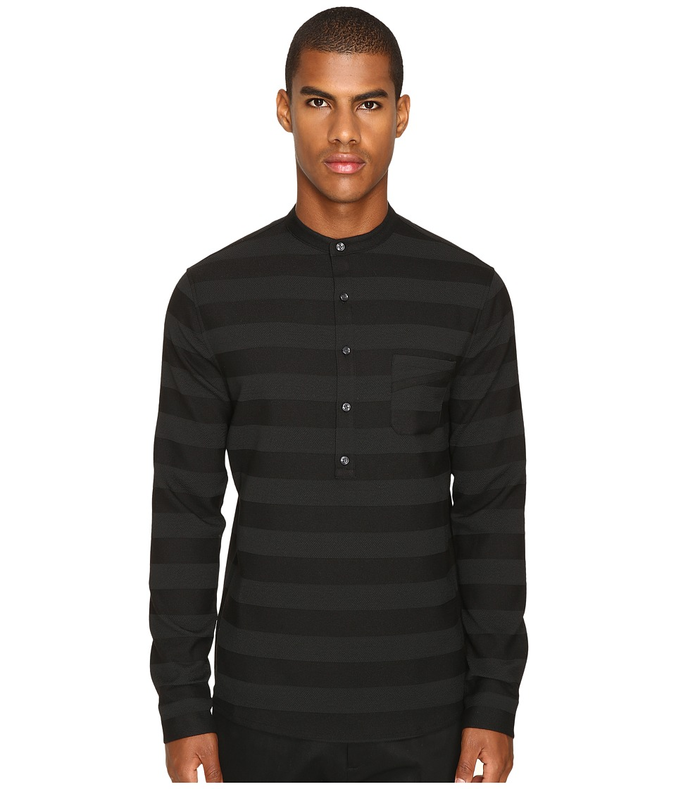 Matiere - Brennon Striped Woven Pullover Tunic (Jet Black) Men's Clothing