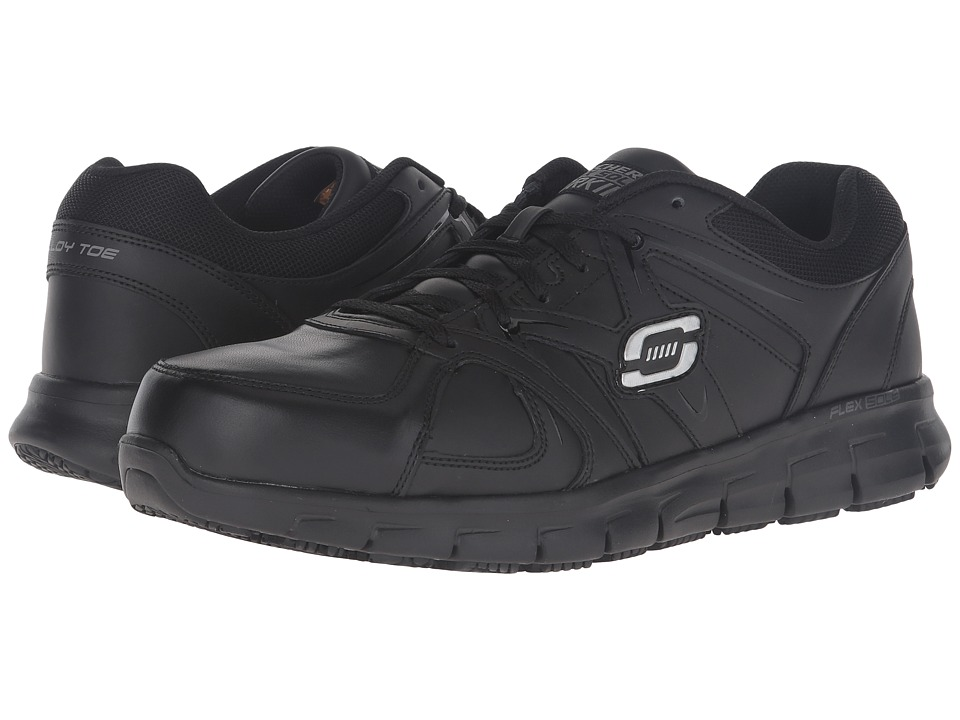 SKECHERS Work - Synergy Ekron (Black Leather) Men's Work Boots