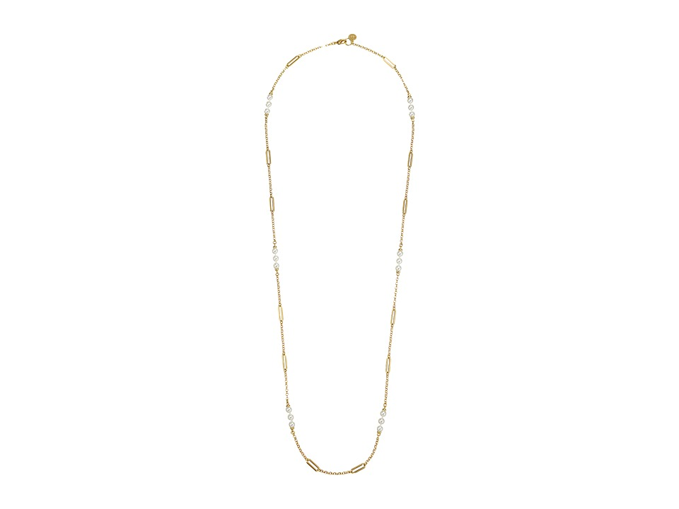 Majorica - Modern Metal Oval Accent Gold Necklace (White) Necklace