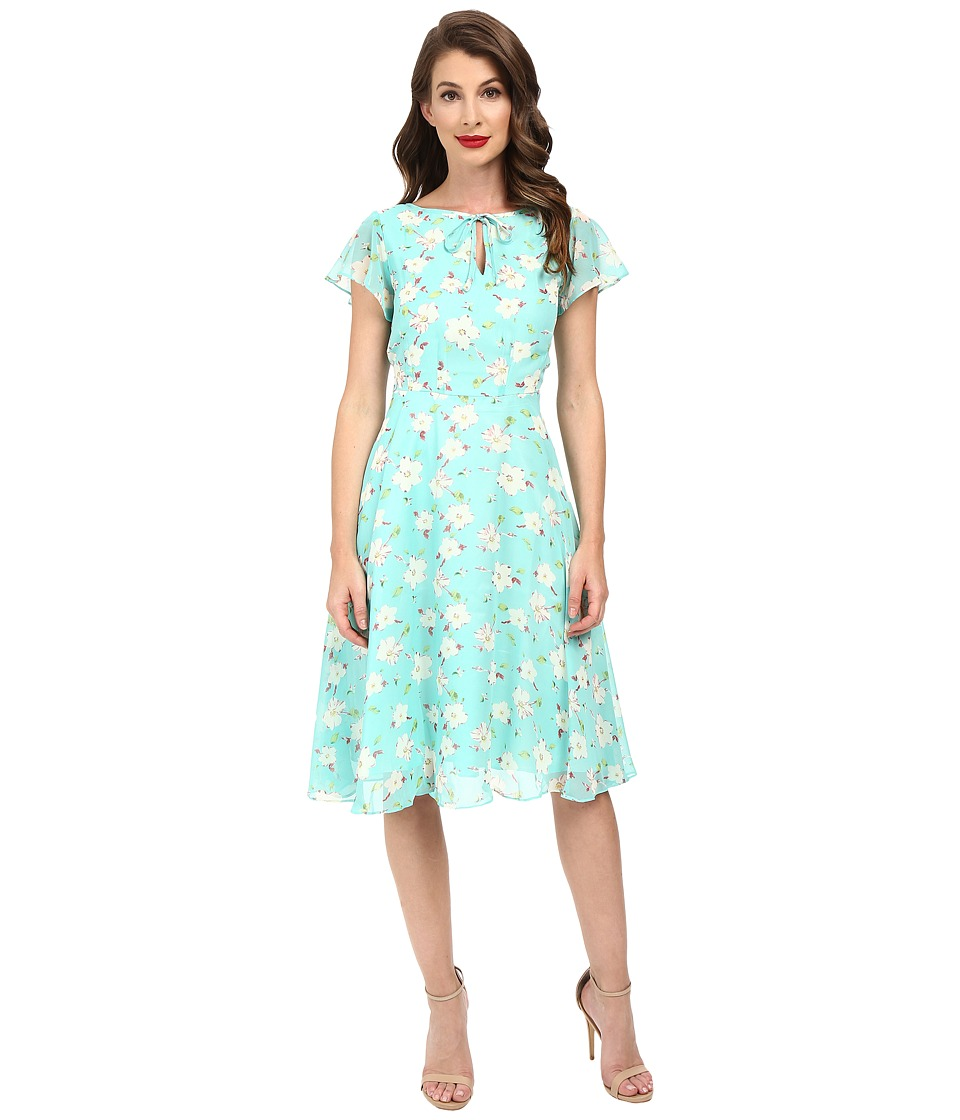 Unique Vintage - Formosa Swing Dress (Mint Floral) Women's Dress