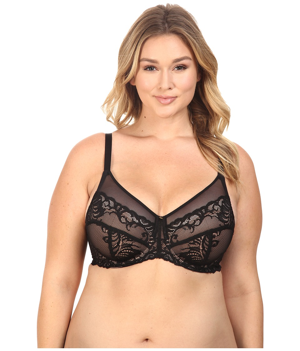 Natori - Feathers Full Figure Contour Underwire (Black/Buff) Women's Bra