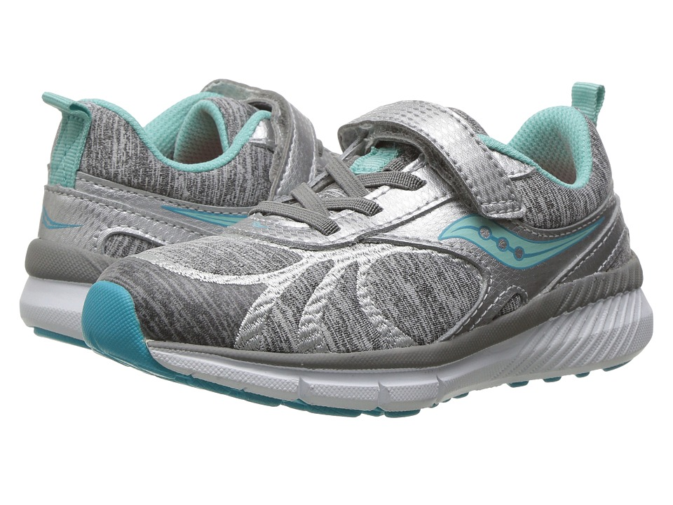 Saucony Kids Velocity A/C (Little Kid) (Silver/Turquoise) Girls Shoes