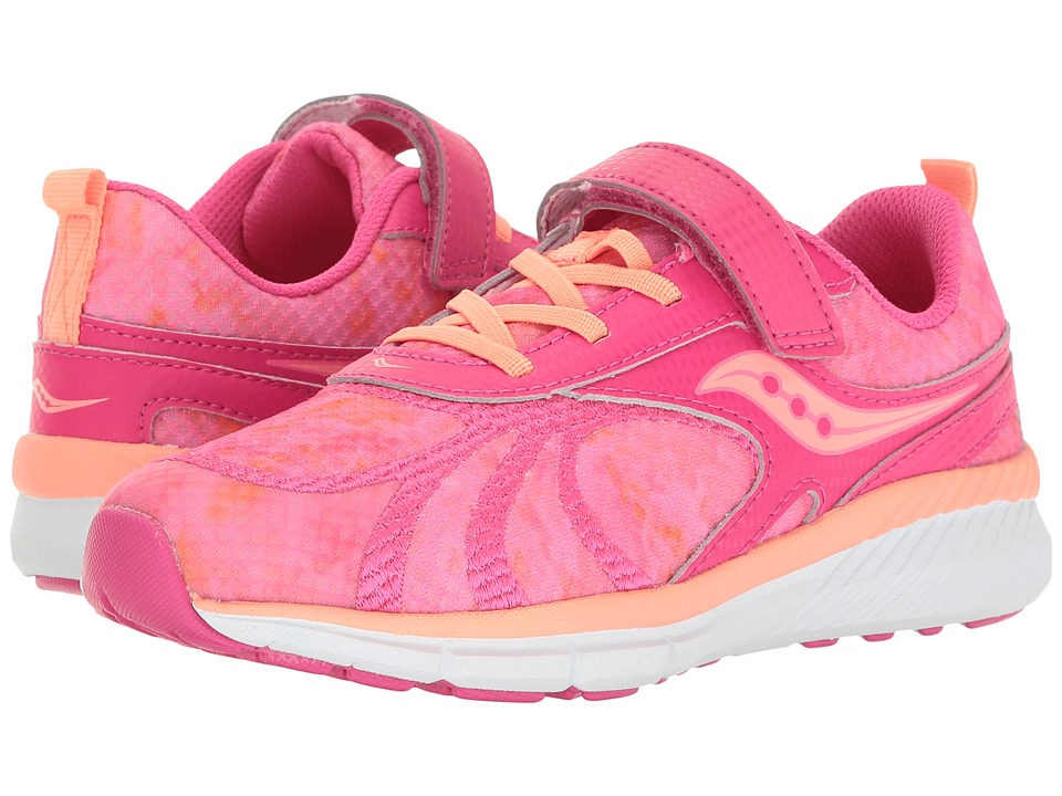 Saucony Kids Velocity A/C (Little Kid) (Pink/Coral) Girls Shoes