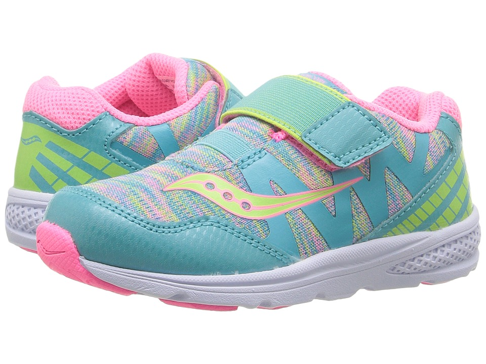 Saucony Kids Ride Pro (Toddler/Little Kid) (Turquoise/Multi) Girls Shoes