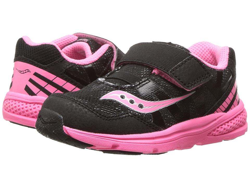 Saucony Kids Ride Pro (Toddler/Little Kid) (Black/Coral) Girls Shoes