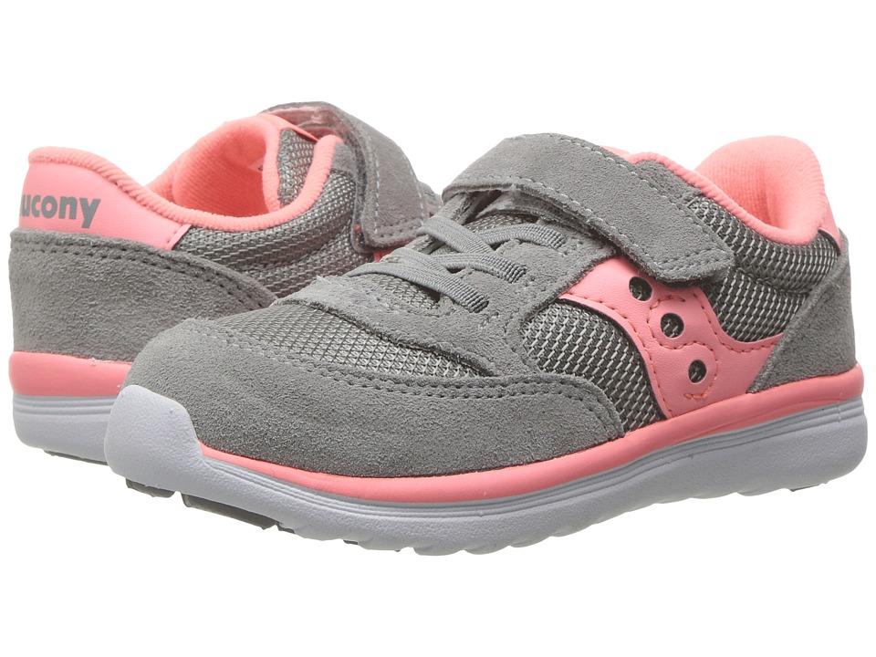 Saucony Kids Jazz Lite (Toddler/Little Kid) (Grey/Coral) Girls Shoes