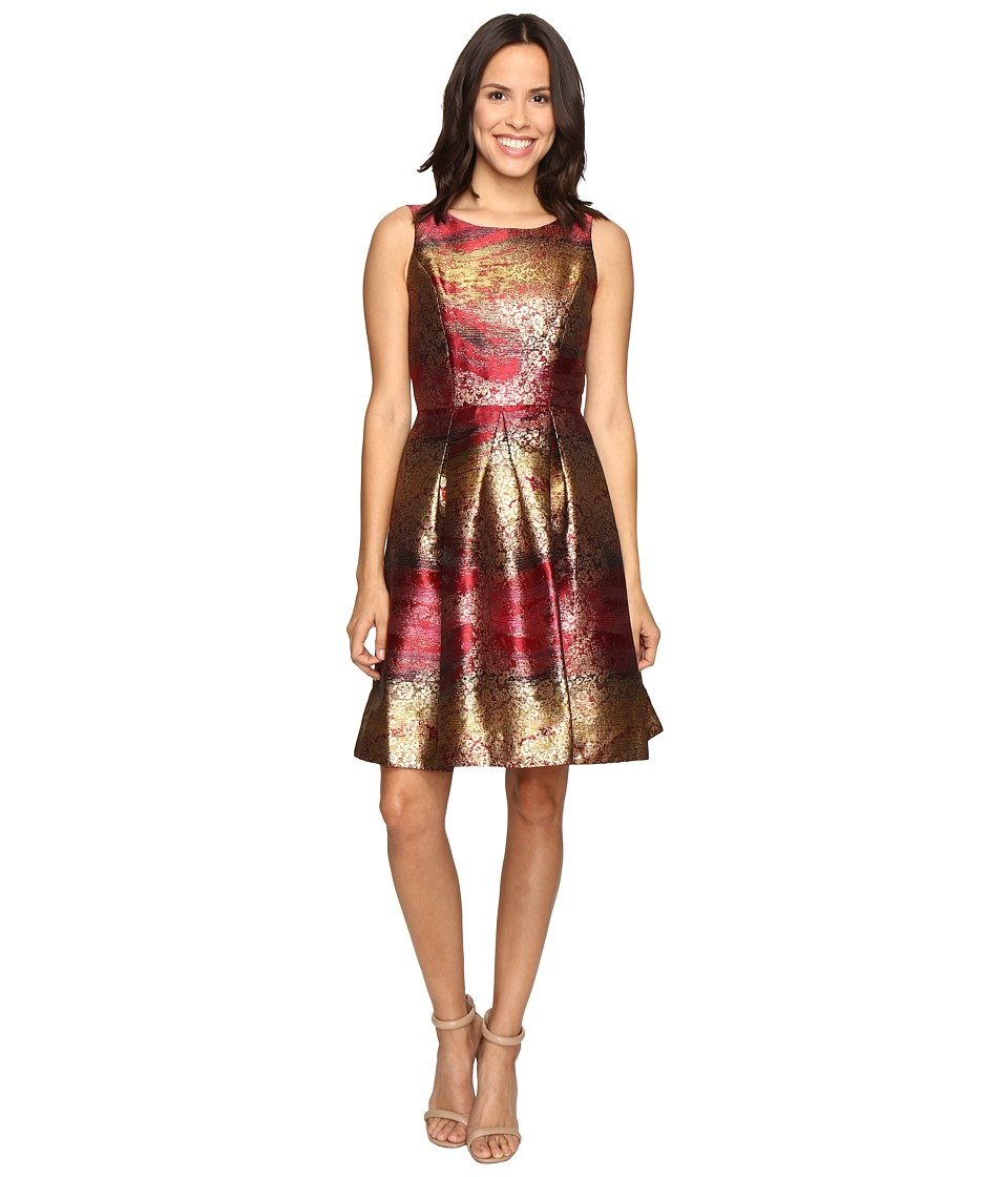 rsvp - Millington Metallic Brocade Dress (Red Multi) Women's Dress