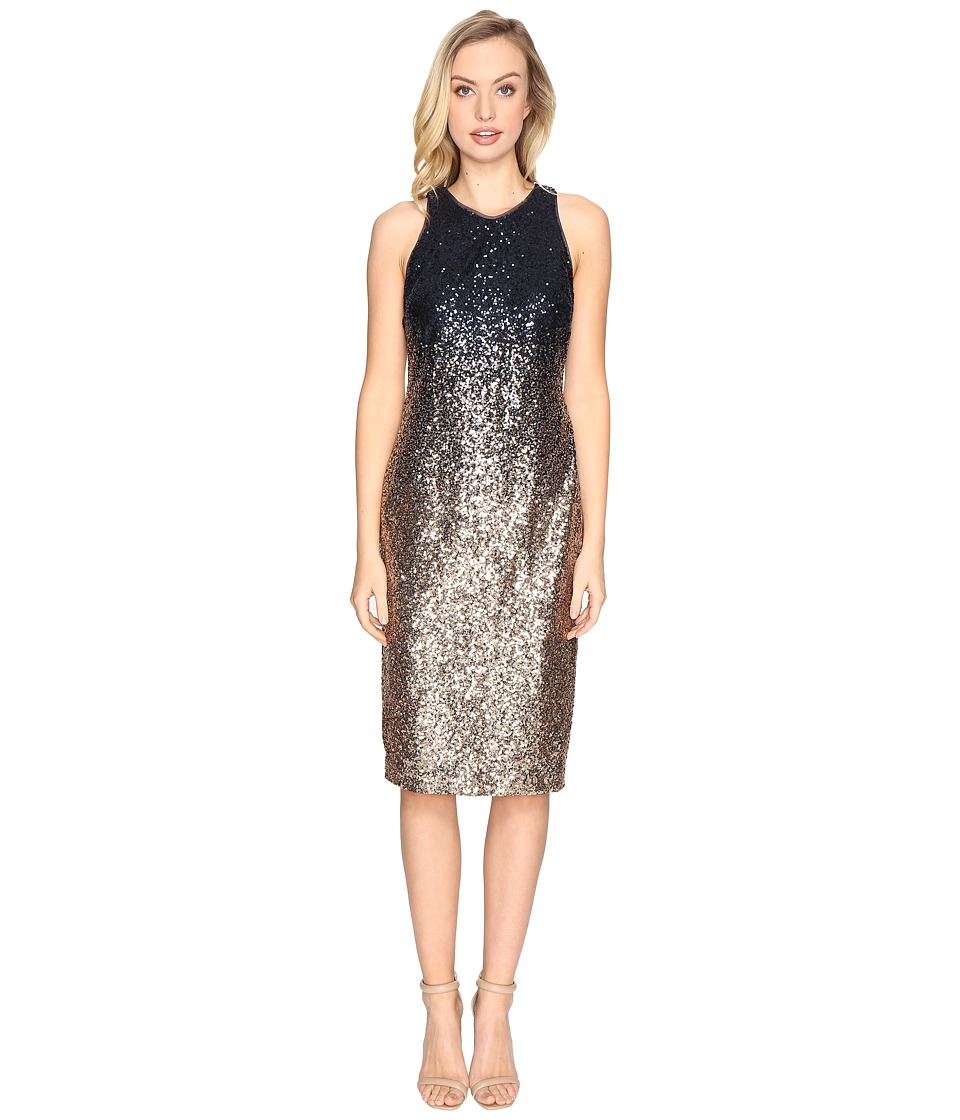 rsvp - Normandy Ombre Sequin Dress (Navy/Gold) Women's Dress
