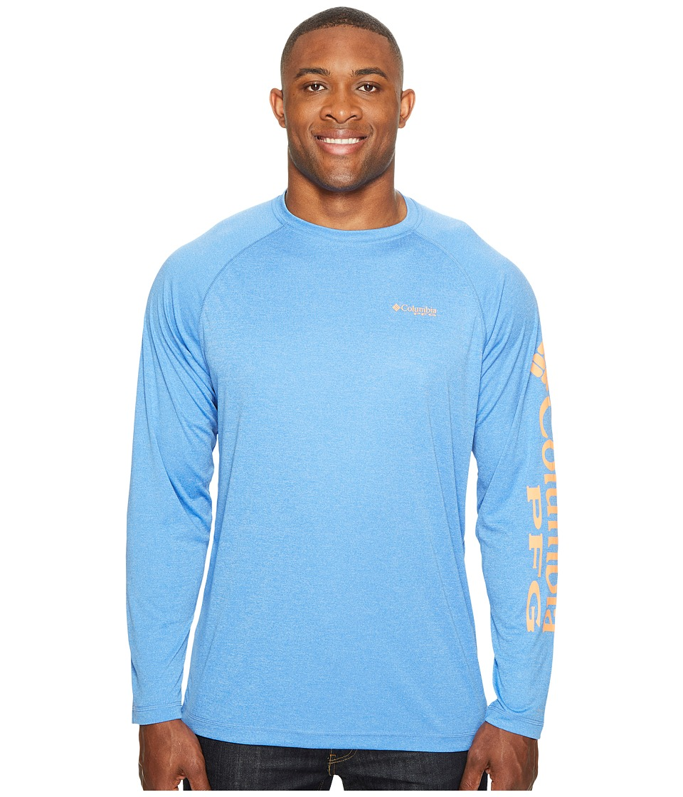 Columbia - Big Tall Terminal Tackle Heather Long Sleeve Shirt (Vivid Blue Heather/Jupiter Logo) Men's Long Sleeve Pullover