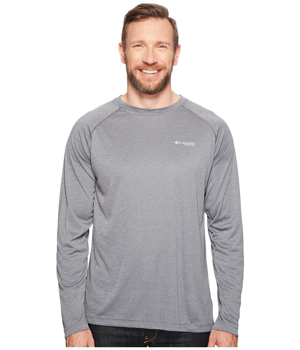 Columbia - Big Tall Terminal Tackle Heather Long Sleeve Shirt (Charcoal Heather/Cool Grey Logo) Men's Long Sleeve Pullover