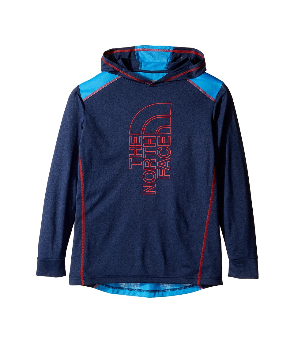 The North Face Kids - Long Sleeve Reactor Hoodie (Little Kids/Big Kids) (Cosmic Blue Heather/Clear Lake Blue/High Risk Red (Prior Season)) Boy's Sweatshirt