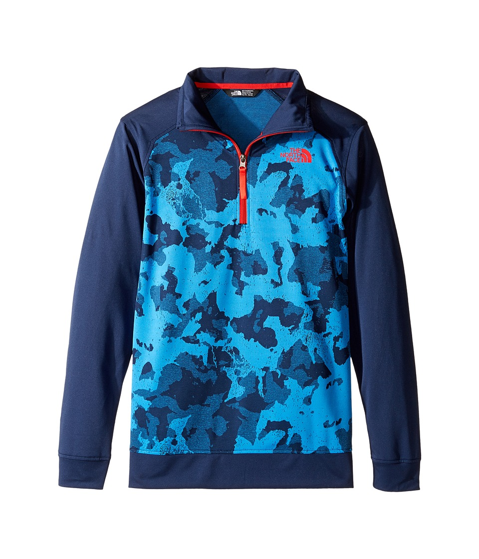 The North Face Kids - Kickin It 1/4 Zip (Little Kids/Big Kids) (Cosmic Blue Animal Camo Jacquard (Prior Season)) Boy's Sweatshirt