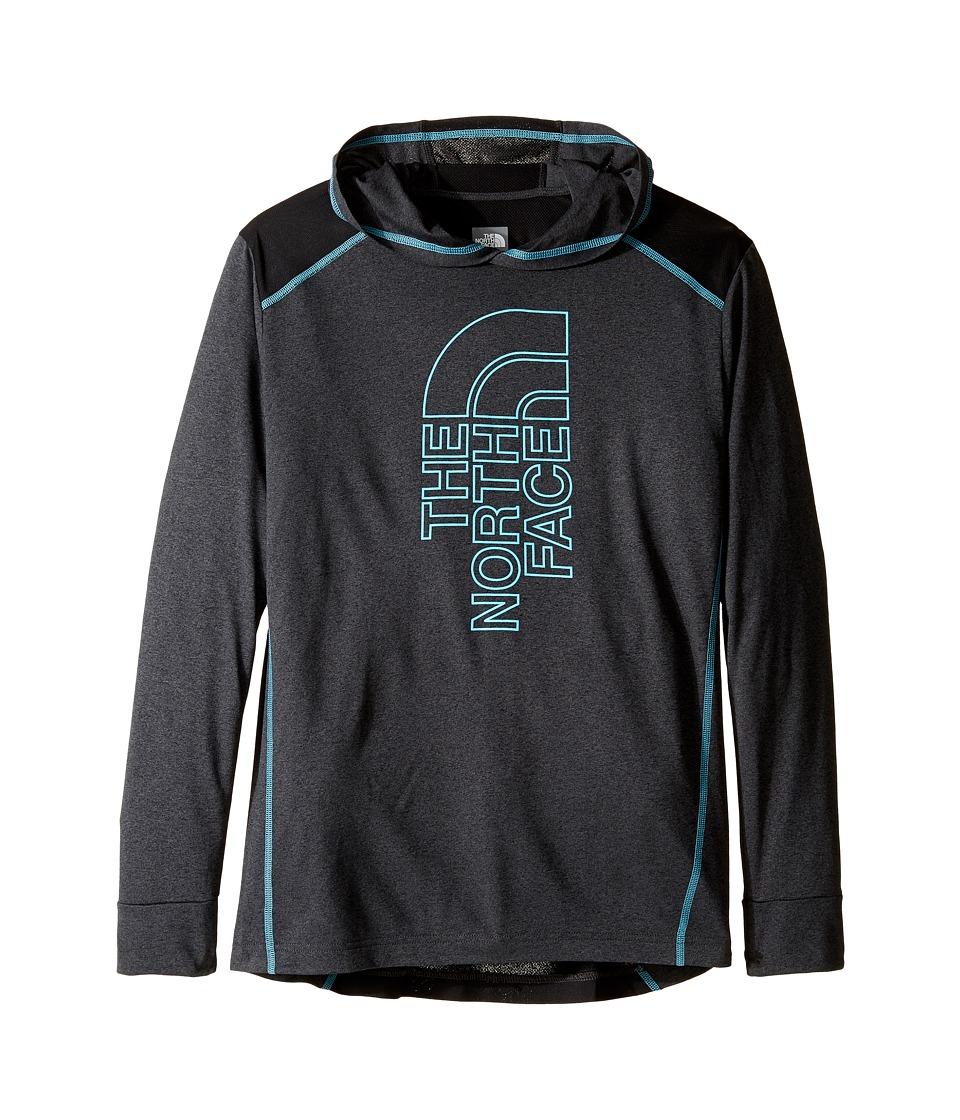The North Face Kids - Long Sleeve Reactor Hoodie (Little Kids/Big Kids) (TNF Dark Grey Heather/TNF Black (Prior Season)) Boy's Sweatshirt