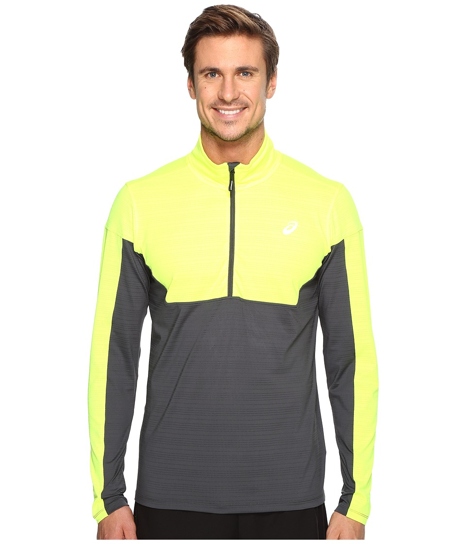 ASICS - Lite-Show 1/2 Zip Top (Safety Yellow/Dark Grey) Men's Sweatshirt
