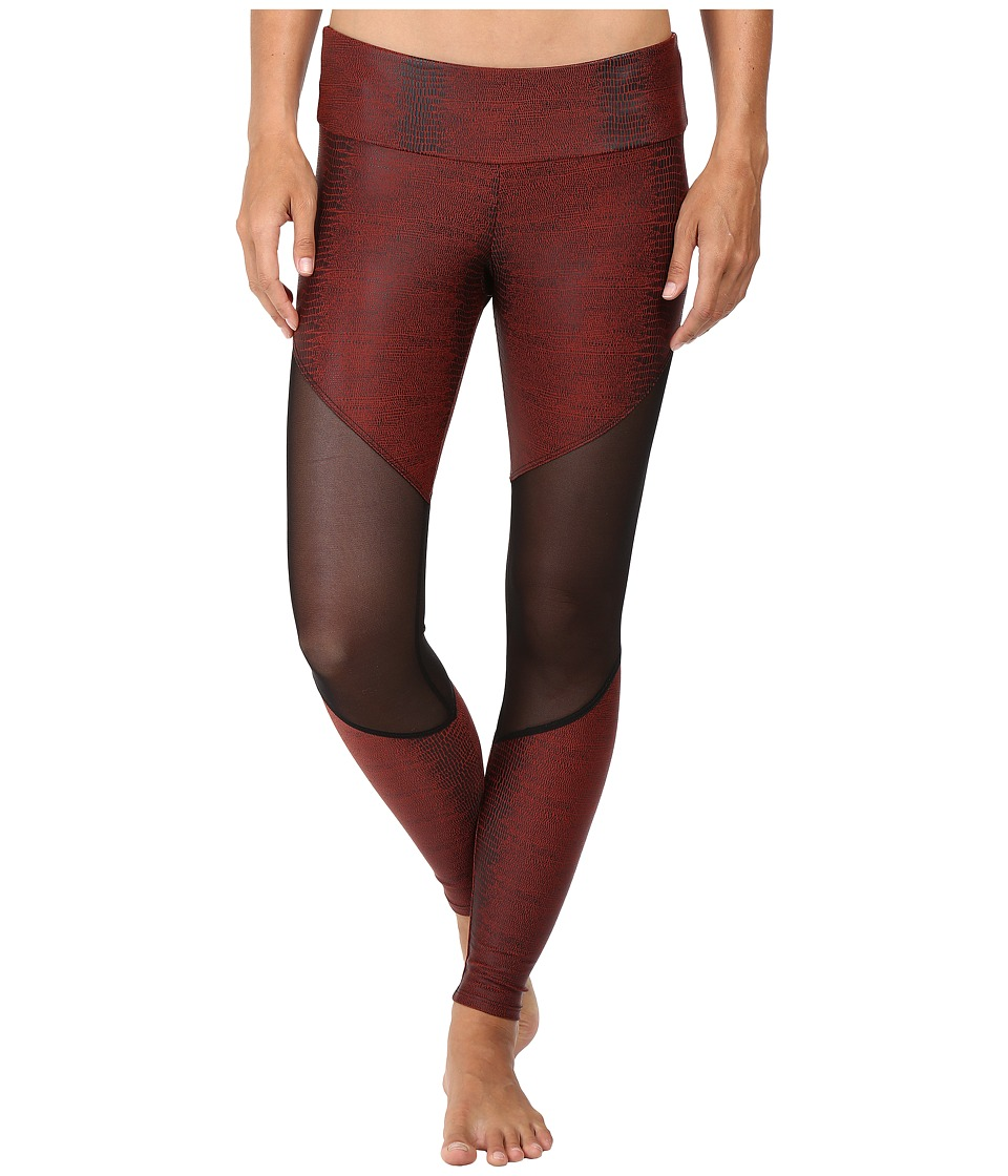 Onzie - Track Leggings (Burgundy Snake Combo) Women's Casual Pants
