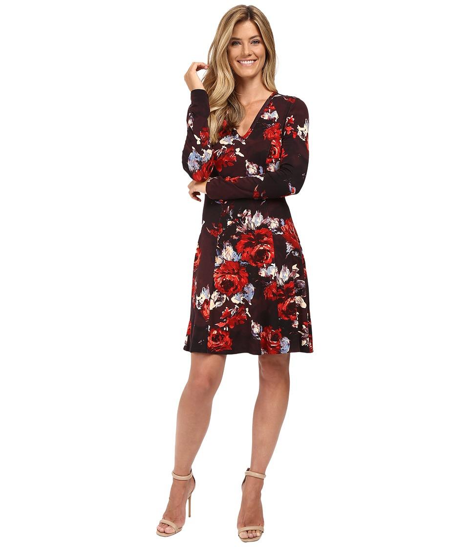 Karen Kane - Painted Rose A-Line Dress (Print) Women's Dress
