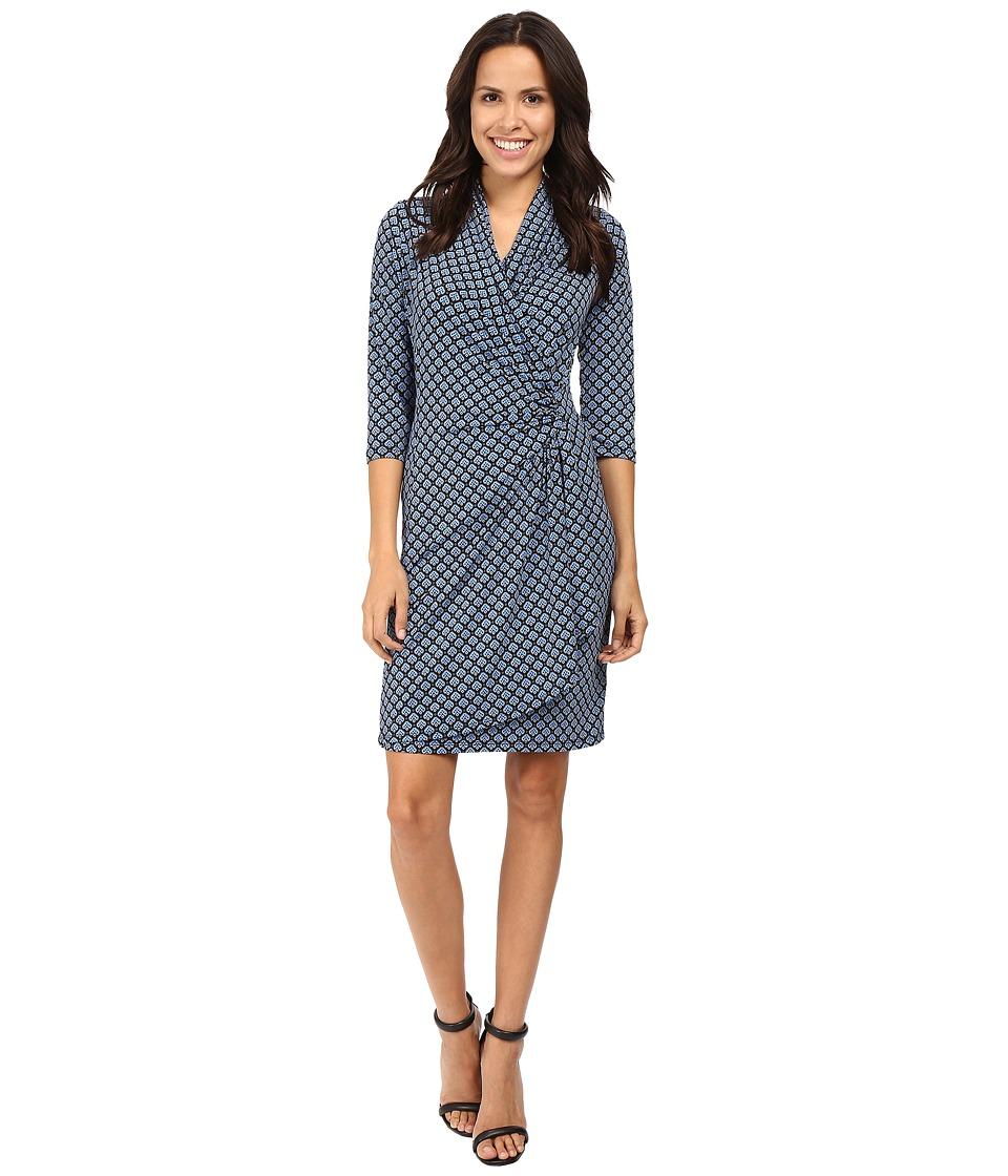 Karen Kane - 3/4 Sleeve Cascade Wrap Dress (Print) Women's Dress