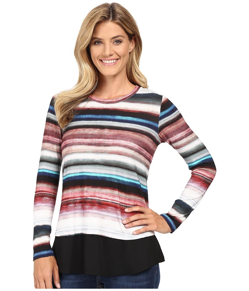 Karen Kane - Wanderluxe Stripe Contrast Hem Top (Print) Women's Clothing