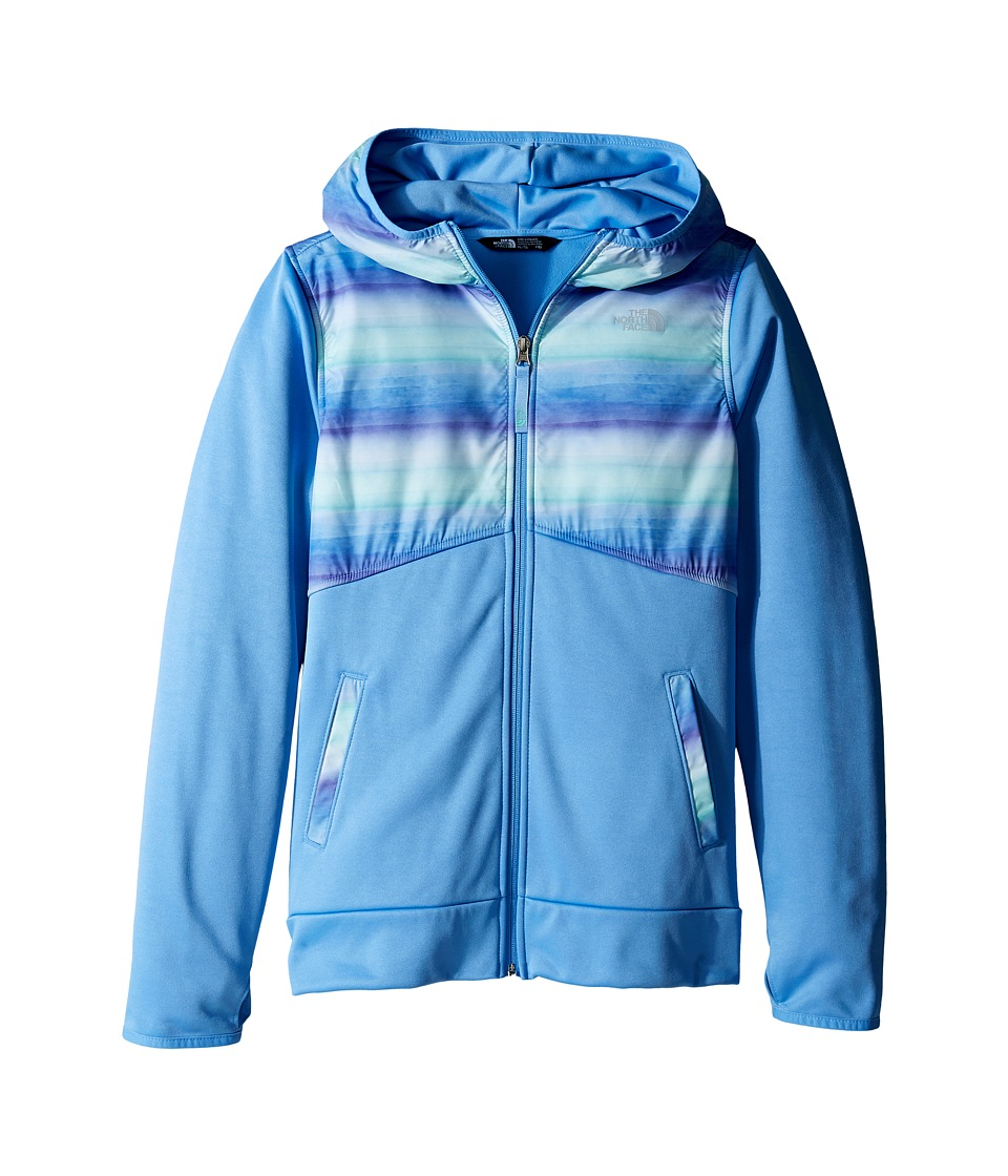 The North Face Kids - Kickin It Hoodie (Little Kids/Big Kids) (Provence Blue Ombre Stripe Print/Provence Blue (Prior Season)) Girl's Sweatshirt