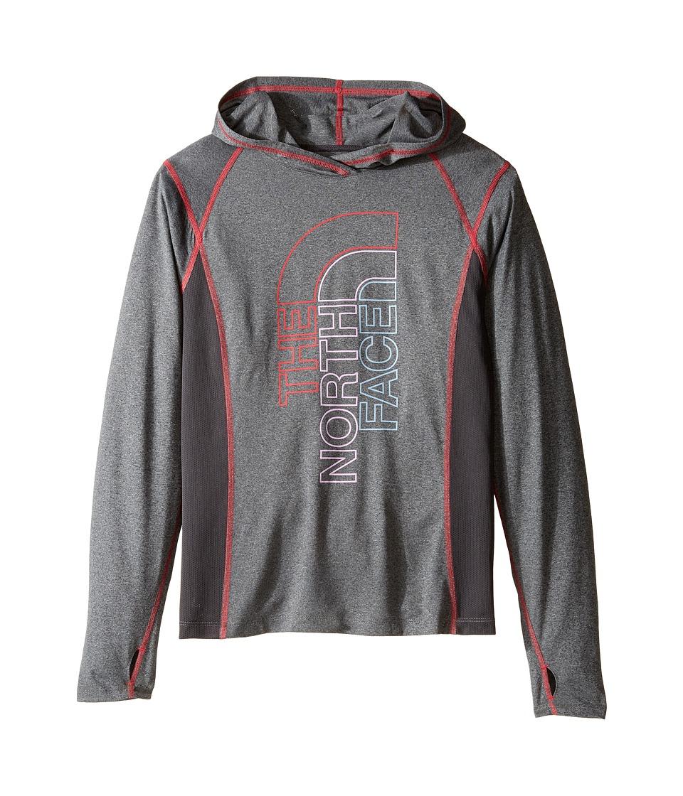 The North Face Kids - Long Sleeve Reactor Hoodie (Little Kids/Big Kids) (TNF Medium Grey Heather/Graphite Grey (Prior Season)) Girl's Sweatshirt