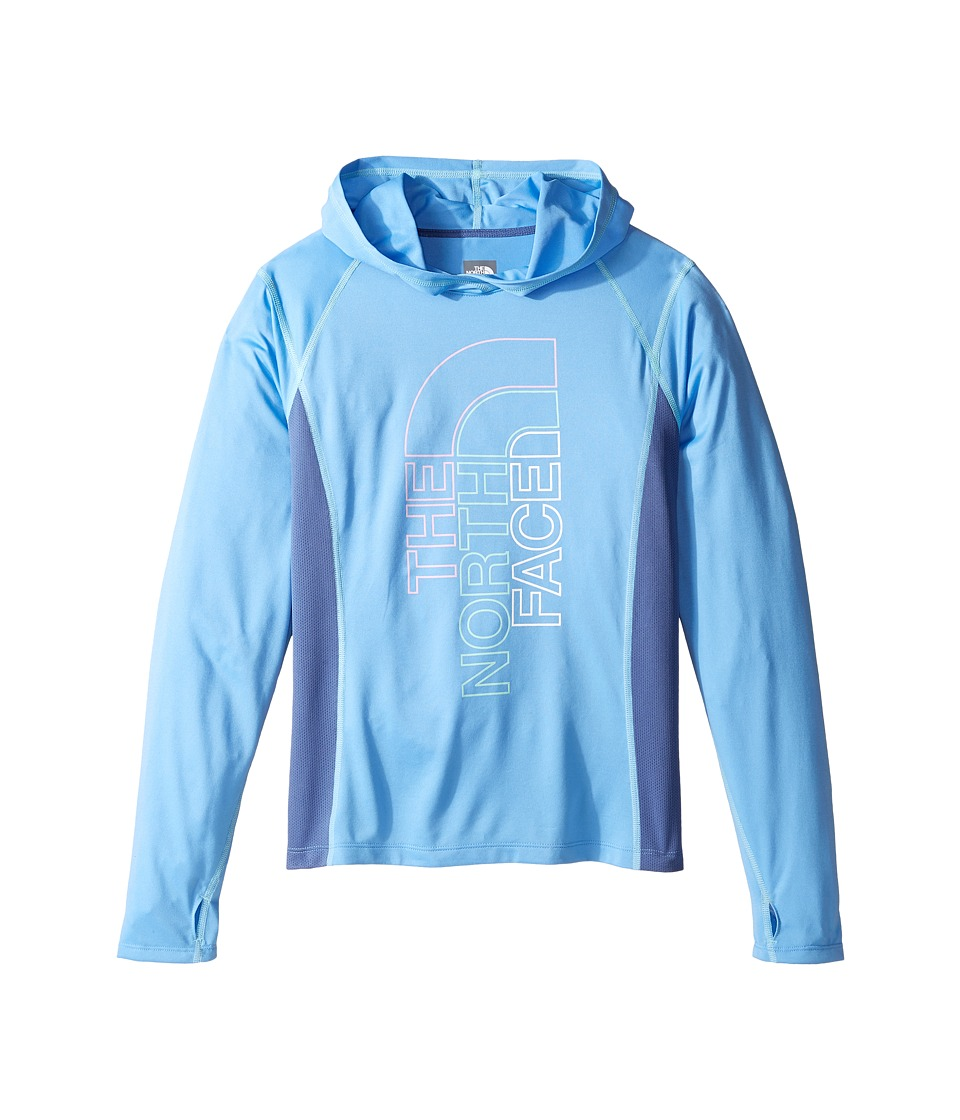 The North Face Kids - Long Sleeve Reactor Hoodie (Little Kids/Big Kids) (Provence Blue/Coastal Fjord Blue/Breeze Blue (Prior Season)) Girl's Sweatshirt