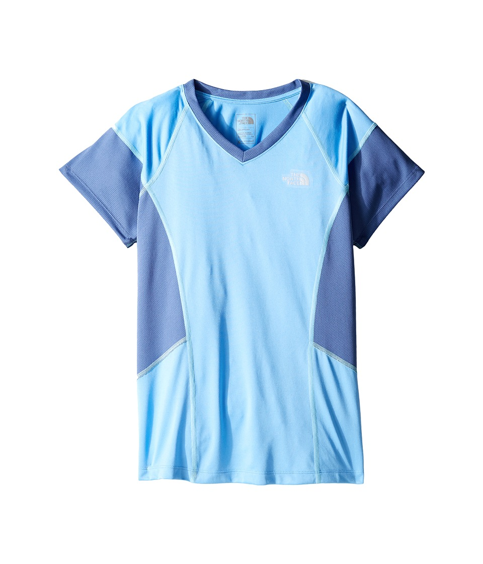 The North Face Kids - Short Sleeve Reactor Tee (Little Kids/Big Kids) (Provence Blue/Coastal Fjord Blue (Prior Season)) Girl's Short Sleeve Pullover