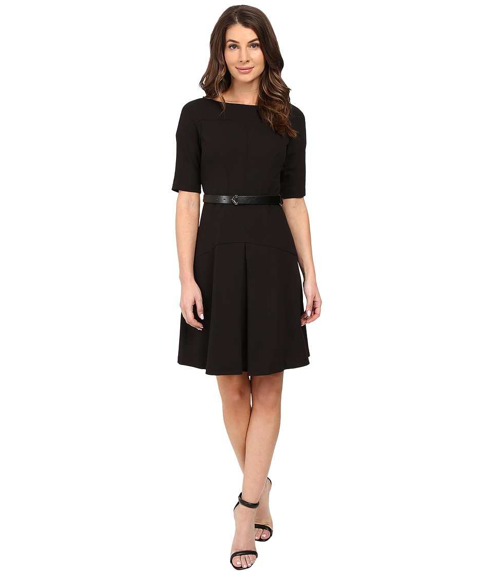 Donna Morgan - Boat Neck Shift Dress with Seam (Black) Women's Dress