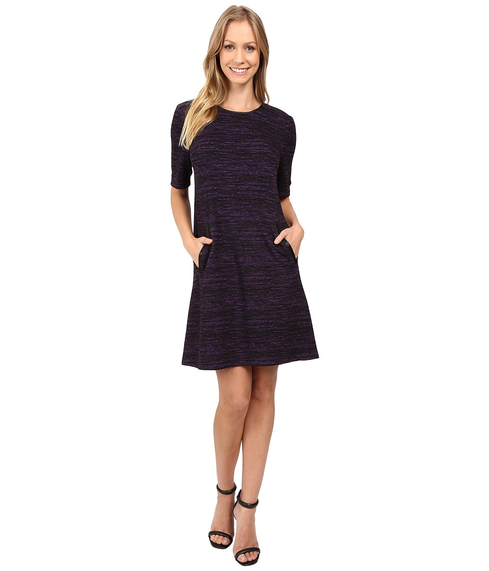 Donna Morgan - A-Line Shift Dress with Faux Leather (Black/Syrup) Women's Dress