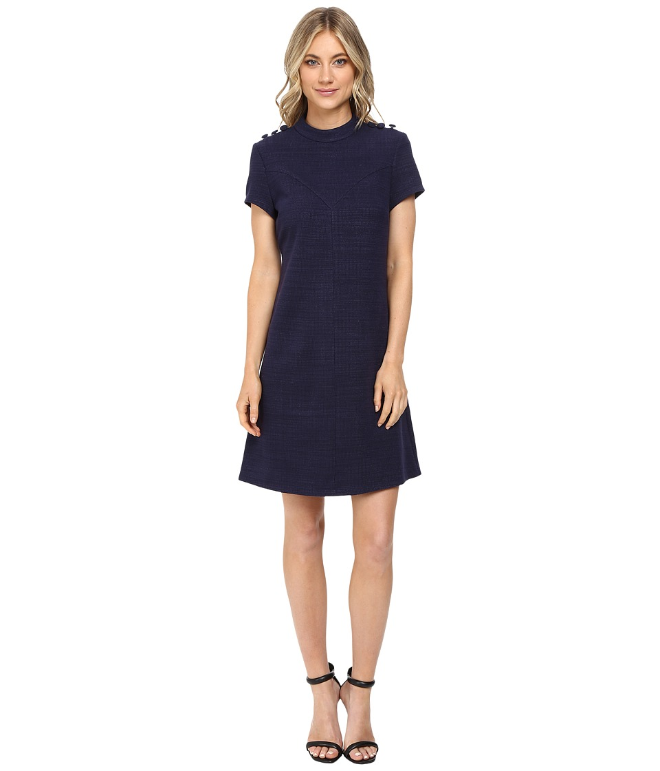 Donna Morgan - Knit High Neck Dress w/ Button (Marine Navy) Women's Dress