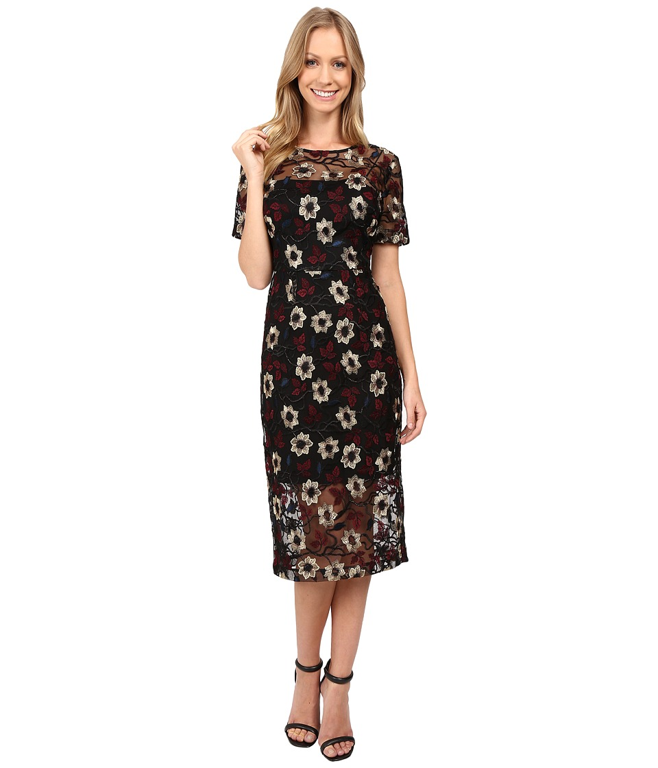 Donna Morgan - Floral Embroidered Mesh Dress (Black/Cos) Women's Dress