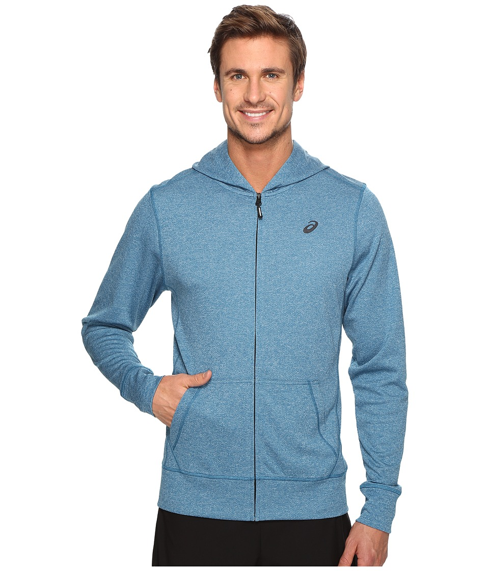 ASICS - Tech Full Zip Hoodie (Thunder Blue Heather) Men's Sweatshirt