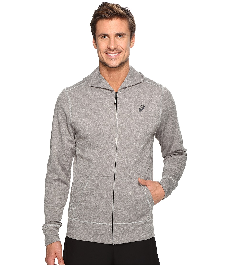 ASICS - Tech Full Zip Hoodie (Mid Grey Heather) Men's Sweatshirt