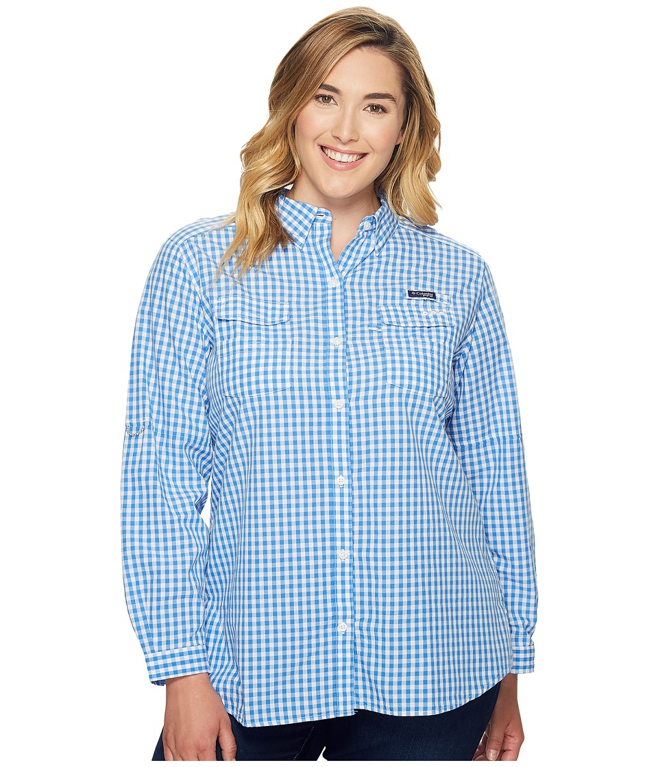 Columbia - Plus Size Super Boneheadtm II L/S Shirt (Harbor Blue Gingham) Women's Long Sleeve Button Up