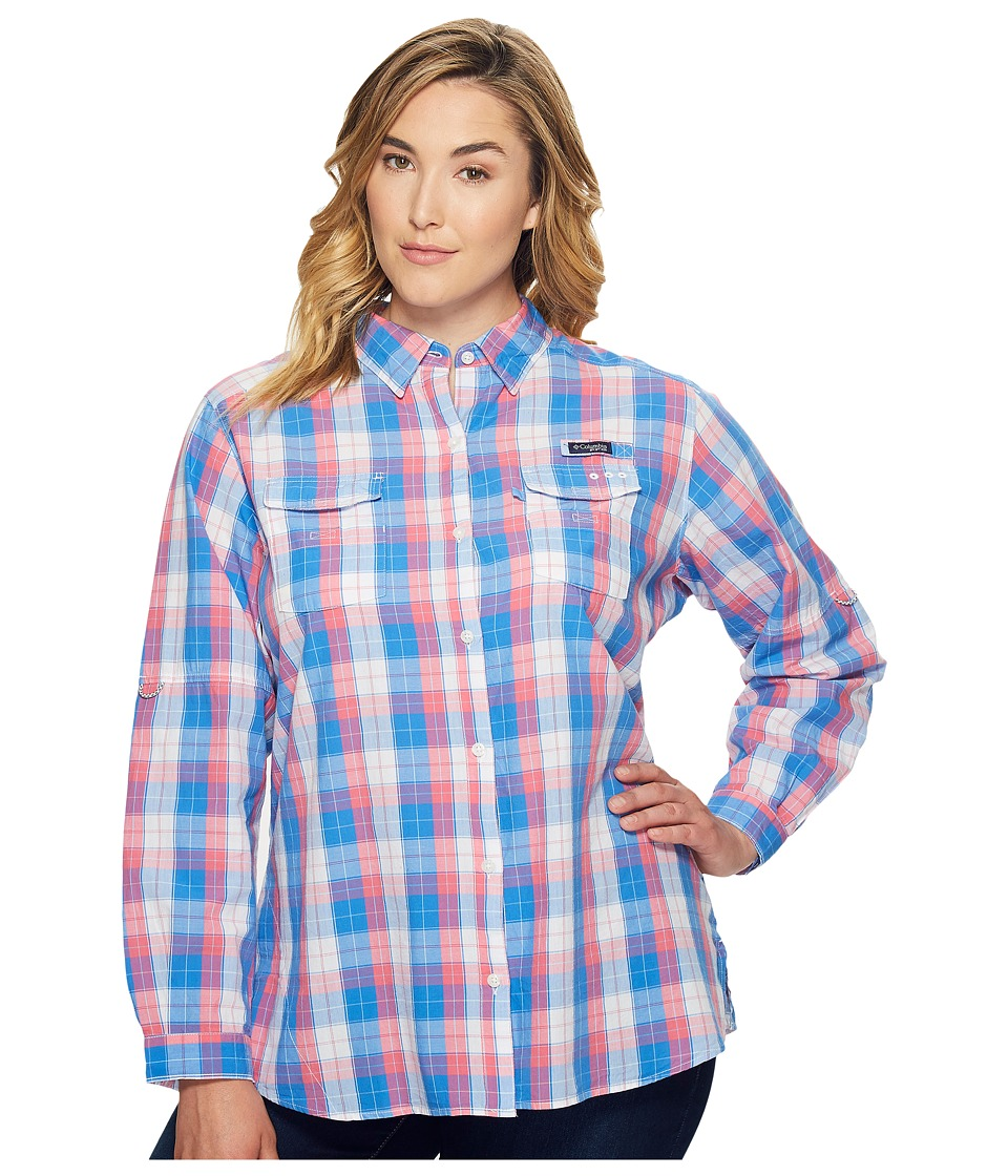 Columbia - Plus Size Super Boneheadtm II L/S Shirt (Harbor Blue Plaid) Women's Long Sleeve Button Up