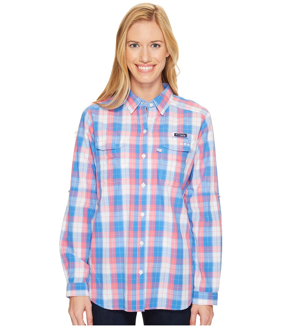 Columbia - Super Boneheadtm II L/S Shirt (Harbor Blue Plaid) Women's Long Sleeve Button Up