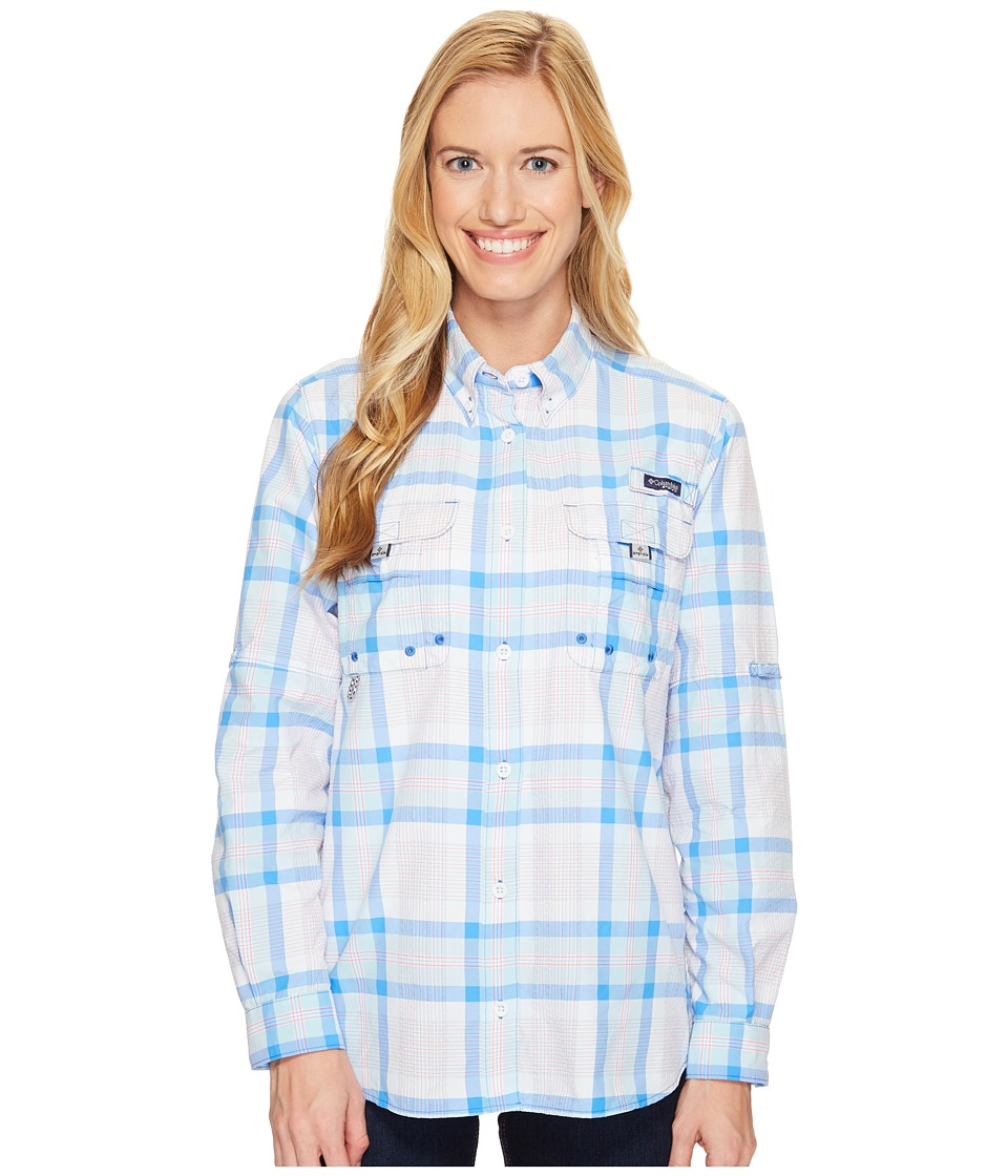Columbia - Super Bahamatm L/S Shirt (Harbor Blue Seersucker Plaid) Women's Long Sleeve Button Up