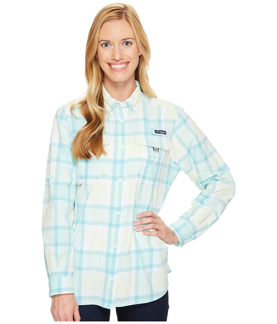 Columbia - Super Bahamatm L/S Shirt (Iceberg Seersucker Plaid) Women's Long Sleeve Button Up