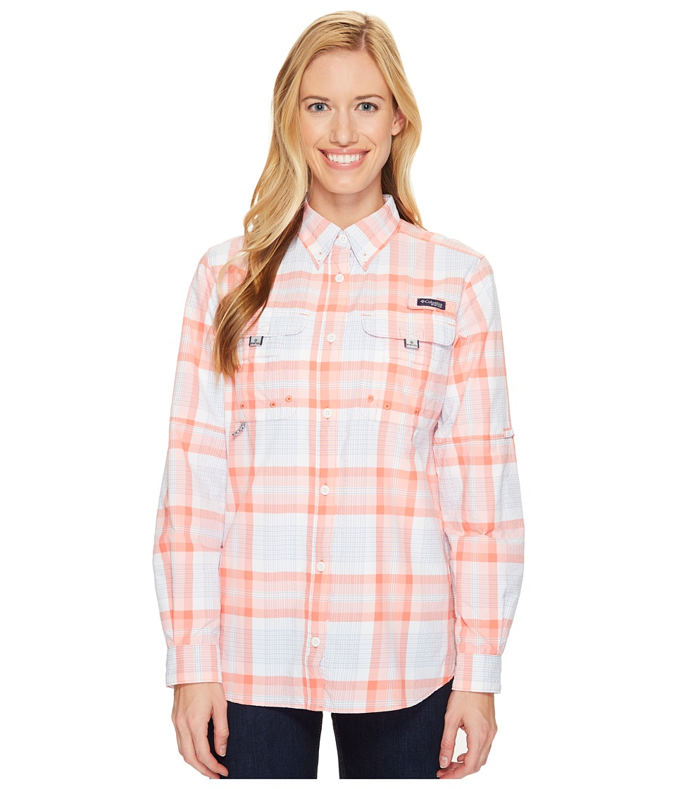 Columbia - Super Bahamatm L/S Shirt (Melonade Seersucker Plaid) Women's Long Sleeve Button Up