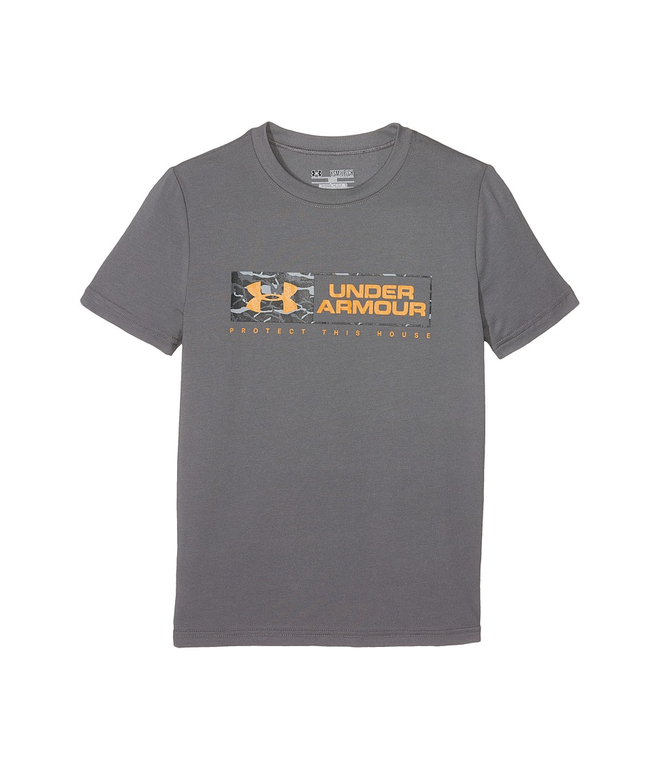 Under Armour Kids - Knockout Bar Wordmark Short Sleeve Tee (Big Kids) (Graphite) Boy's T Shirt