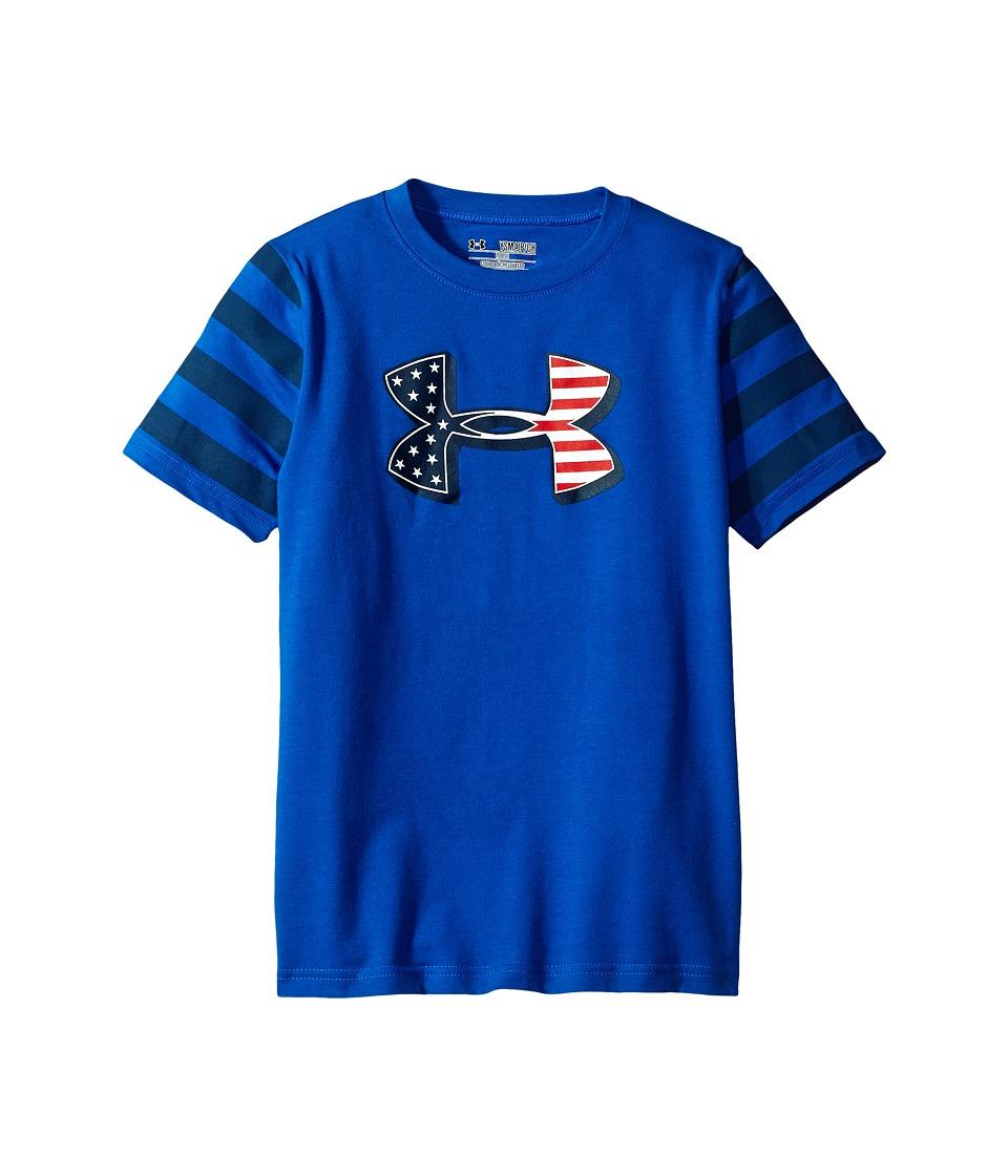 Under Armour Kids - Big Logo Flag Short Sleeve Tee (Big Kids) (Ultra Blue/Blackout Navy) Boy's T Shirt