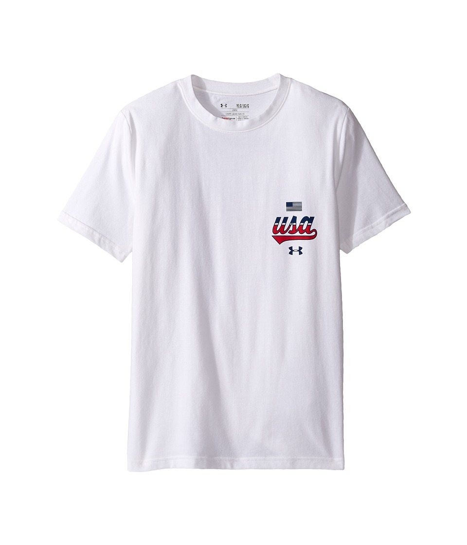 Under Armour Kids - Home of the Brave Short Sleeve Tee (Big Kids) (White/Red) Boy's T Shirt