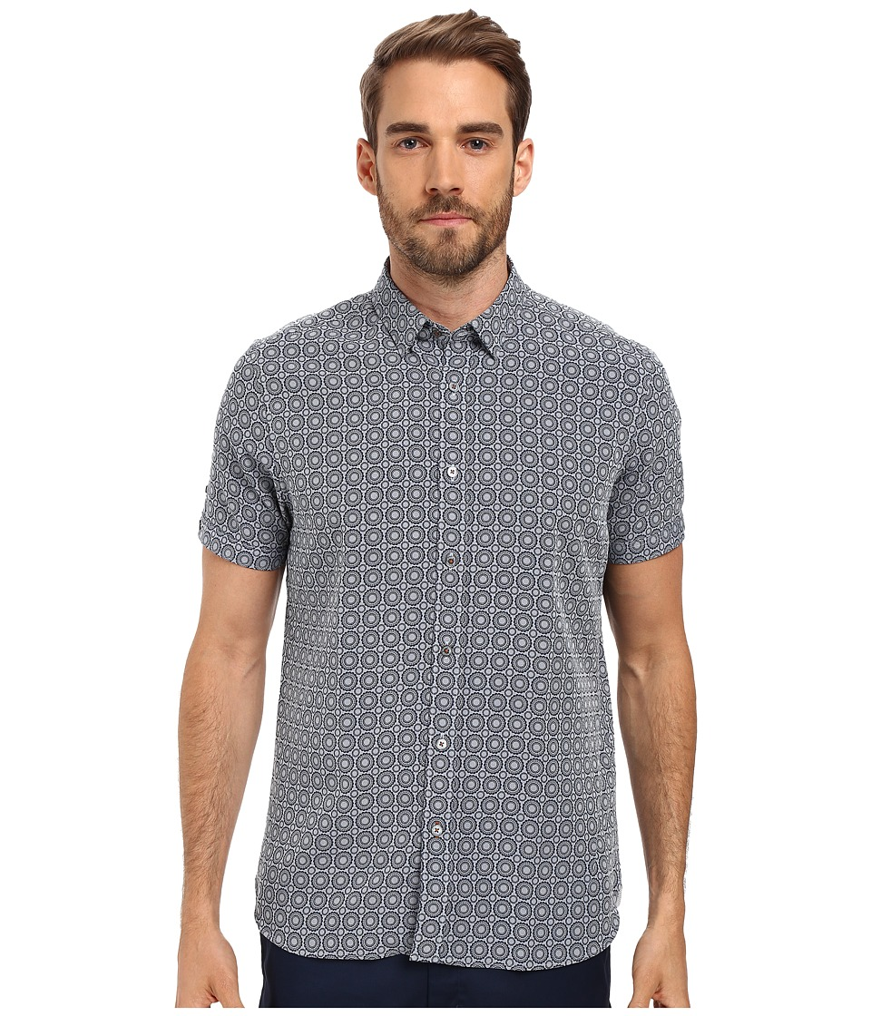 Ted Baker - Short Sleeve Geo Print Shirt (Navy) Men's Short Sleeve Button Up