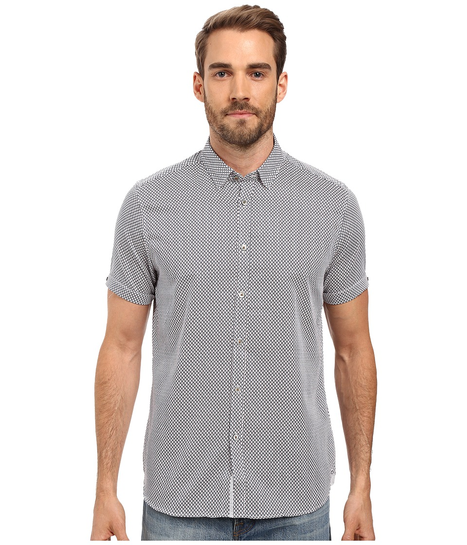 Ted Baker - Teeger Short Sleeve Diamond Print Shirt (Navy) Men's Short Sleeve Button Up