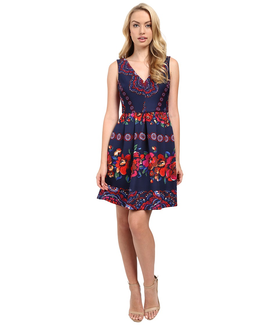 Sangria - V-Neck Folklore Print Scuba Fit and Flare (Navy/Multi) Women's Dress
